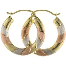 New 9 carat Tri Yellow Gold Creole Hoop Earrings Jewellery Gift Boxed