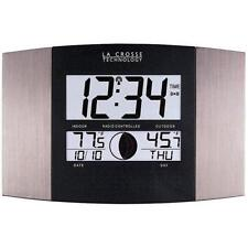 La Crosse Technology Atomic Wall Clock with Indoor/Outdoor Temperature New