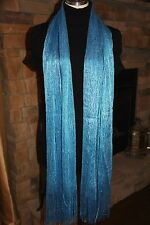 B2 Blue Aqua Teal Metallic Long Fringe Formal Scarf Shawl Boutique $89