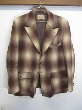 vtg Field & Stream Coat Chore Jacket wool brown shadow plaid distressed sz XL