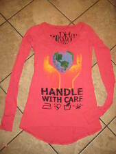 DIRTEE HOLLYWOOD PINK HANDLE WITH CARE LONG SLEEVE LONG SHIRT SZ XS