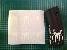 AR 15 Magazine SPIDER Sticker 6 Pack, Spiderman, AR, AK, WHITE!