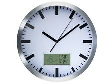 CLOCK WALL CLOCK A NEEDLES ALUMINUM WITH THERMOMETER HYGROMETER LCD