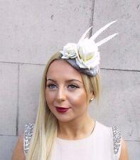 Grey Cream Ivory Feather Fascinator Headpiece Hair Clip Hat Races Ascot Vtg 2478