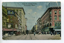 Worcester MA Mass Main Street view looking North, stores, signs, people 1914