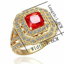 18ct Yellow Gold Plate ROMA Cocktail Ring - Swarowski Crystals white & red -18mm