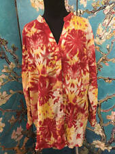 BASIC EDITIONS PLUS 2X RED TIE-DYE SPLIT NECK BUTTON DOWN LONG SLEEVE TUNIC TOP