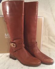 "Michael Kors ""BRYCE TALL BOOT"" Leather Tall Riding Boots Women's Size 10 Brown"