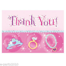 PRINCESS JEWELS THANK YOU NOTES (8) ~ Girl Birthday Party Supplies Stationery