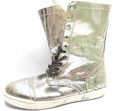 Women's Shoes Steve Madden Resolvve Zipper Lace Up Silver Leather Boots Size 9 M