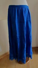 Studio West Peasant Skirt L Cobalt Bright Blue Modest Tiered Long Pull On Cotton