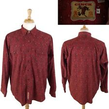 Vintage CINCH Long Sleeve Pearl Snap WESTERN COWBOY Red Paisley Shirt Size M