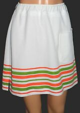 Women's Vintage Lacoste Haymaker Tennis Skort Skirt 14 White Green Orange RETRO!