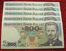POLAND BANKNOTE PRL 200 ZLOTYCH JAROSLAW DABROWSKI 1986 YEAR UNC LOT SET 1 PC