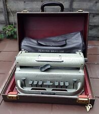 Perkins Brailler Vintage Braille Typewriter with Hard Case, Keys & Soft Cover