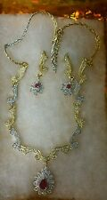 Indian AD Necklace Party Gold & Silver Two Tone Bollywood Swam Jewelry Set 125