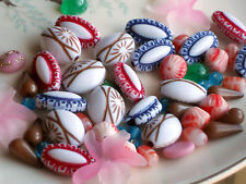 #1310 Vintage Beads Lot Assemblage Etched Acrylic Cabs Glass Cabochons Huge Oval