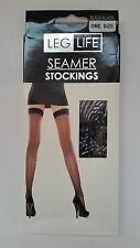 Seamed Back  Stockings Burlesque 40's 50's Retro Vintage Black Colour One Size.