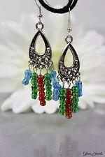 Glass Jewels Silber Ohrringe Ohrhänger Chandelier Orientalisch Perlen Bunt #L016