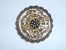 VINTAGE- STAMPED  W. GERMANY - ROUND CLIP ON - BROOCH / PIN - GOLD TONE