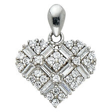 "14K White Gold 0.25 ct Baguette Round Diamond Heart Pendant Charm 1/2"" 1.0 gr"