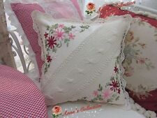 "Hand Crochet Lace Ribbon Floral Embroidery Throw Pillow Case Cushion Cover~16""~"