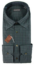 STEFANO RICCI Green Black Plaid Extrafine Cotton Dress Shirt 16 L 41 NWT $750!