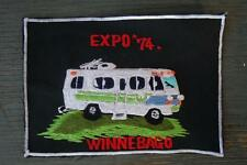 RARE vtg 1970s WINNEBAGO mh RV embroidered JACKET shirt PATCH lg 7x5 MINT racing