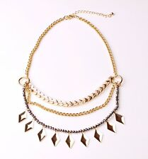 CHIC GOLD TONE CHOKER NECKLACE SPARKLY SILVER/GOLD/WHITE TRIPLE-CHAIN (CL18)