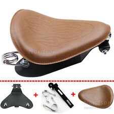 Motorcycle Flame Leather Brown Spring Bracket Mounting Base Solo Seat For Harley