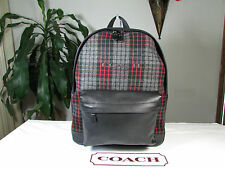 NWT Coach Leather & Print Wool Campus Backpack F71938 Grey / Red Plaid