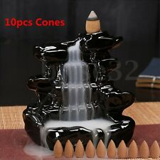 Black Waterfall Porcelain Backflow Ceramic Incense Burner Holder With 10 Cones