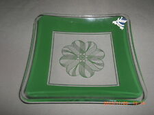 Retro A.H. Dorman Danish Art Glass Green Enamel Square Dish With Original Label