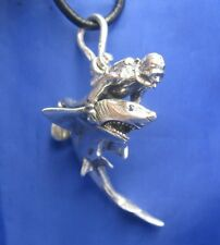 "XL Sterling Silver Original Mens Shark & Diver Pendant Crisol Jewelry 2.75"" x 2"""