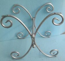 SCROLL STYLE SHABBY 'N CHIC VINTAGE WROUGHT IRON TABLE BASE SILVER PAINT