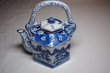 Vintage Handmade Hand Painted Porcelain Chinese Blue White Dragon Teapot China