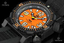 Reactor 45mm Titan Orange Dial Strap Watch w Inner Rotating Bezel & Never Dark