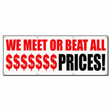 WE MEET OR BEAT ALL $ PRICES! RED CUSTOM Sign Banner 4' x 2' /w 4 Grommets