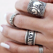 Vintage Mode Damen Boho Beach Carved Silver Elephant Totem Leaf Lucky Ring Set