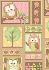Fat Quarter You Whoo Owls Patch Cotton Quilting Fabric - Henry Glass