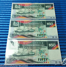 Singapore Ship Series $50 Note F/7 526020-526022 Run 3X Dollar Note Currency