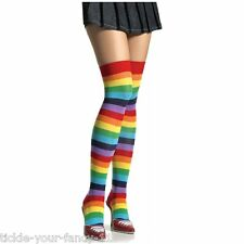 Ladies Or Teens Over the Knee Rainbow Multi Coloured Stripe Socks Fancy Dress