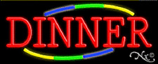 """NEW """"DINNER"""" 32x13 W/MULTICOLOR DESIGN REAL NEON SIGN w/CUSTOM OPTIONS 10783"""