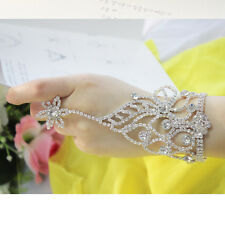 Silver Floral Crystal Bracelet Slave Chain Link Finger Ring Hand Harness Bangle
