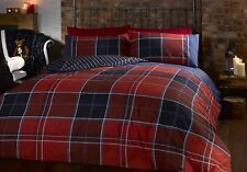 Duvet Quilt Cover Bedding Set & Pillowcase Reversible Tartan Check & Striped