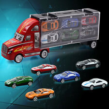 Kids Delivery Truck Toys Car Carrying Vehicle Model Toy + 12 Small Alloy Car Set