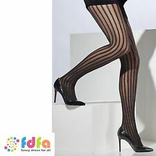 BLACK SHEER TIGHTS BURLESQUE VERTICAL STRIPES ladies accessory womens hosiery