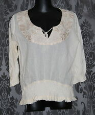 Womens size 8 cream embroidered cotton top made by ROXY