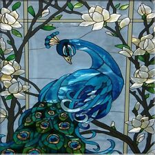 Blue Peacock Decoupage Tile Wall Art Hanging