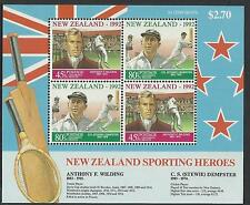 NEW ZEALAND 1992 HEALTH Sporting Heroes CRICKET RUGBY Souvenir Sheet MNH